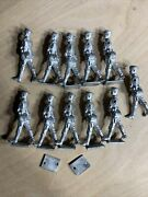 54mm Unpainted Pewter Lead Soldier Model Kit Lot Of 11 No Arms Unknown