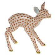Herend, Young Fawn Porcelain Figurine, Rust, Flawless, Retail 425