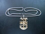 Us Navy Usn Senior Cheif Petty Officer Insignia Stainless Steel Chain Necklace