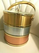 Vintage Ice Bucket Brushed Silver Gold And Pink Trimmed Clear Lid Double Walled
