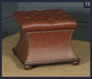 Antique English Victorian Mahogany Brown Leather Upholstered Concave Ottoman Box
