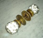 Prismatic Faceted Diamond Cut Glass Brass Door Knob And Plate Cover Antique Set 2