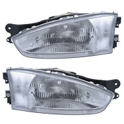 Headlights Front Lamps Pair Set For 97-02 Mitsubishi Mirage Coupe Left And Right