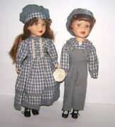 Knightsbridge Collection Porcelain Dolls Twins Plaid Boy And Girl