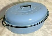 Vintage French Periwinkle/french Blue Enamelware Roaster With Lid Black Trim 18