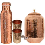 New Copper Water Dispenser Matka Hammered Container Pot With Bottle And 2 Glass