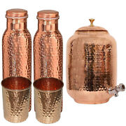 New Copper Water Dispenser Matka Hammered Container Pot With Bottle Andglass Set