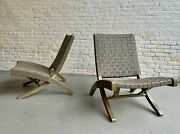 Vintage Mid Century Modern Leather Folding Lounge Chairs A Pair