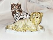 Herend, Max And Sally Terrier Dog Porcelain Figurine, Bi-color, New, Retail 1950