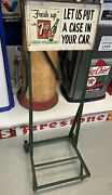 Vintage Antique 7up Store Display Stand Hand Truck Dolly