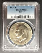 1974-s Silver Eisenhower Dollar Pcgs Ms-66 Buy 3 Items Get 5 Off