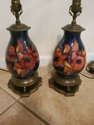 Pair Of Matching Orchid Moorcroft Lamps C1940