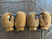 Vintage Victor Leather Boxing Gloves Matching 2 Pairs Man Cave