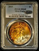 2015 American Silver Eagle 1 Oz 1 Pcgs Ms68 Amazing Strike Toning And Color