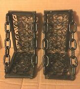 Vintage Pair Gothic Iron Chain Bookends Black
