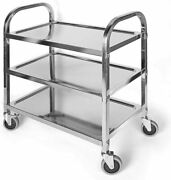 Uyoyous Stainless Steel Utility Cart With Wheelsandhandle 3-tier Kitchen Trolley S