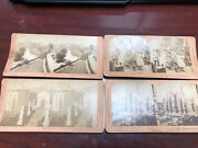 4 Antique B.w Kilburn Stereograph Stereoview Picture Cards One West Point Cadets