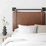 Brown Faux Leather Upholstered Headboard Twin Full Queen King Wall Mounted Rail