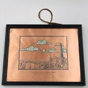 """Vintage Grand Canyon National Park Watch Tower Copper Plate Plaque 8.5"""" X 6.5"""""""