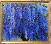 Wisteria Tree. Original Framed Oil On Canvas 21x25 Impressionistic Painting