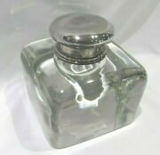 Antique 1930s And Co Sterling Silver Glass Desk Inkwell