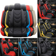 Leather 5 Car Seat Cover Full Set Adjustable Universal Fit Most Auto/truck/suv