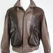 Vtg Bermanand039s Brown Leather Bomber Jacket Mens Size S Small Rare Good Condition