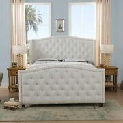 Jennifer Taylor Home Marcella Upholstered Bed - Queen Bright White