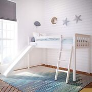 Max And Lily Solid Wood Twin-size Low Loft Bed With Slide White