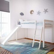 Max And Lily Solid Wood Twin-size Low Loft Bed With Slide, White