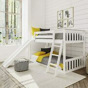 Max And Lily Solid Wood Twin Low Bunk Bed With Slide, White