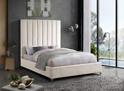 Meridian Furniture Via Collection Modern | Contemporary Velvet Upholstered Bed W