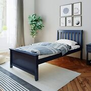 Max And Lily Solid Wood Twin-size Bed, Blue