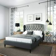 Classic Brands Coventry Upholstered Platform Bed   Headboard And Metal Frame Wit