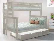 Bedz King Bunk Beds Twin Over Full Mission Style With End Ladder And A Twin Trun