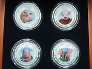 Cambodia 3000 Riels Year Of The Pig Lunar, Set Of 4 Silver Coins 2007