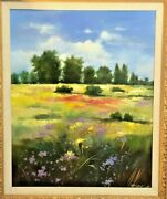 Tuscany Hills Italy Trees And Flowers Blue Sky Oil Landscape Painting Kanayo Ede