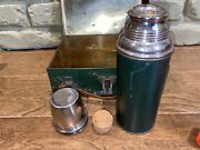 American Thermos Bottle Co Vintage Icy Hot Metal Lunch Box Leather Handle