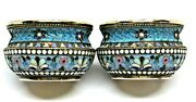 Russian Pair Of Imperial Large Silver Gilt And Cloisonne Enamel Salts - 84 -89gm.