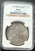 1910 Mexico 1 Peso Silver Beautiful Coin Uncirculated Ngc 63