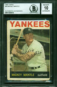 Yankees Mickey Mantle Signed 1964 Topps 50 Card Auto Graded 10 Bas Slabbed