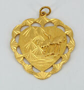 24k Solid Yellow Gold Blessing Cranes Heart Pendant 15.9 Grams