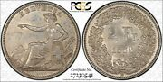 Switzerland 1862-b 2 Francs Silver Coin Uncirculated Pcgs Certified Ms61