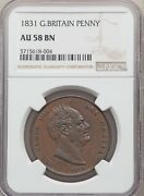 England William Iv 1831 1 Penny Coin Almost Uncirculated Certified Ngc Au-58-bn