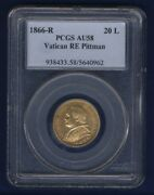 Italy Papal States 1866 20 Lire Gold Coin Certified Pcgs Almost Uncirculated-58