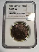 Great Britain Victoria 1866 Penny Gem Uncirculated Certified Ngc Ms65-bn