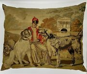 Antique Belgian Venetian Tapestry Pillow Depicting A Boy And Dogs - 25 X 32