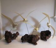 Set Of 3 Original John Perry Seagull Kinetic Sculptures On Burl Shore To Please