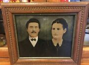 Large 12 X10 Tintype Photo Hand Tinted Color Antique Couple, Original Frame