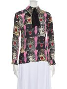 Tiger Face Printed Mock Neck Blouse It38